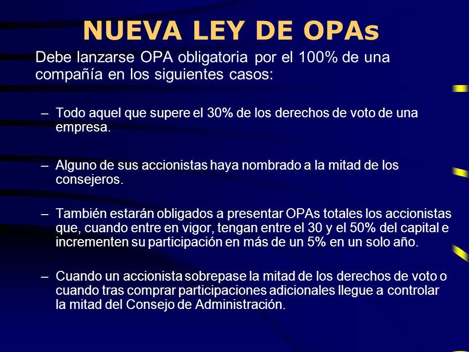NUEVA LEY DE OPAs Debe lanzarse OPA obligatoria por el 100% de una compañía en los siguientes casos: