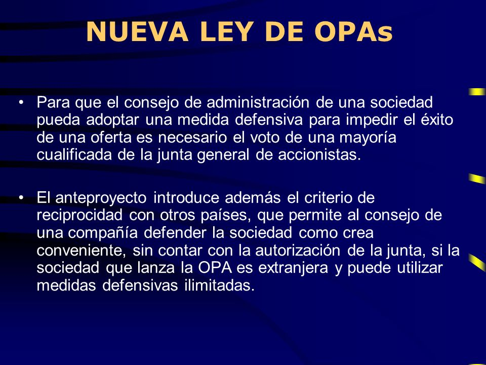 NUEVA LEY DE OPAs