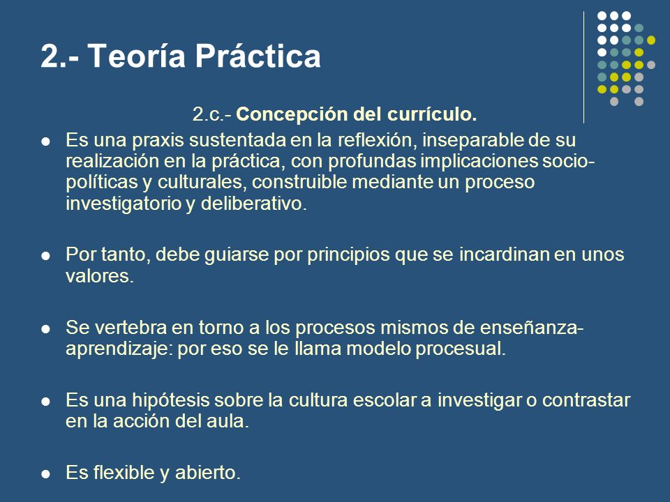 2.c.- Concepción del currículo.