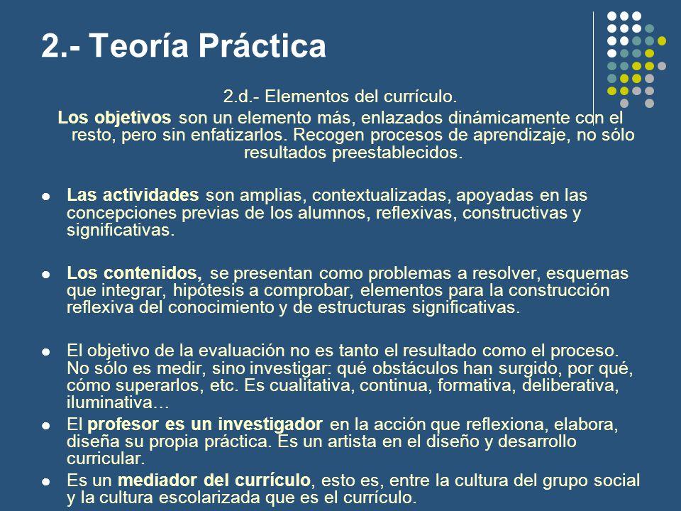 2.d.- Elementos del currículo.