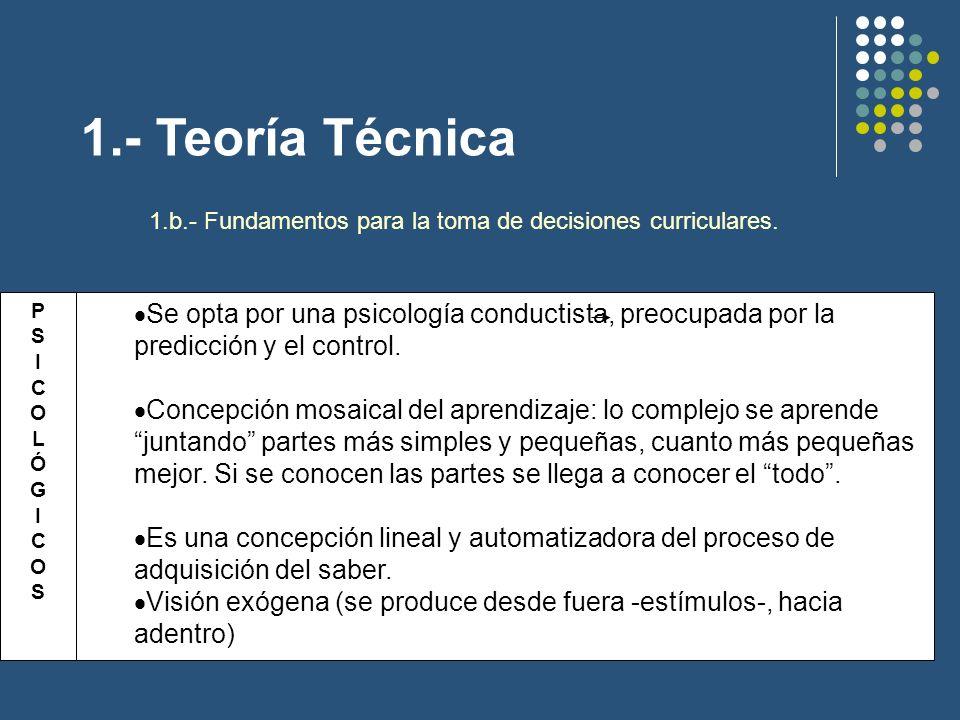 1.- Teoría Técnica 1.b.- Fundamentos para la toma de decisiones curriculares.