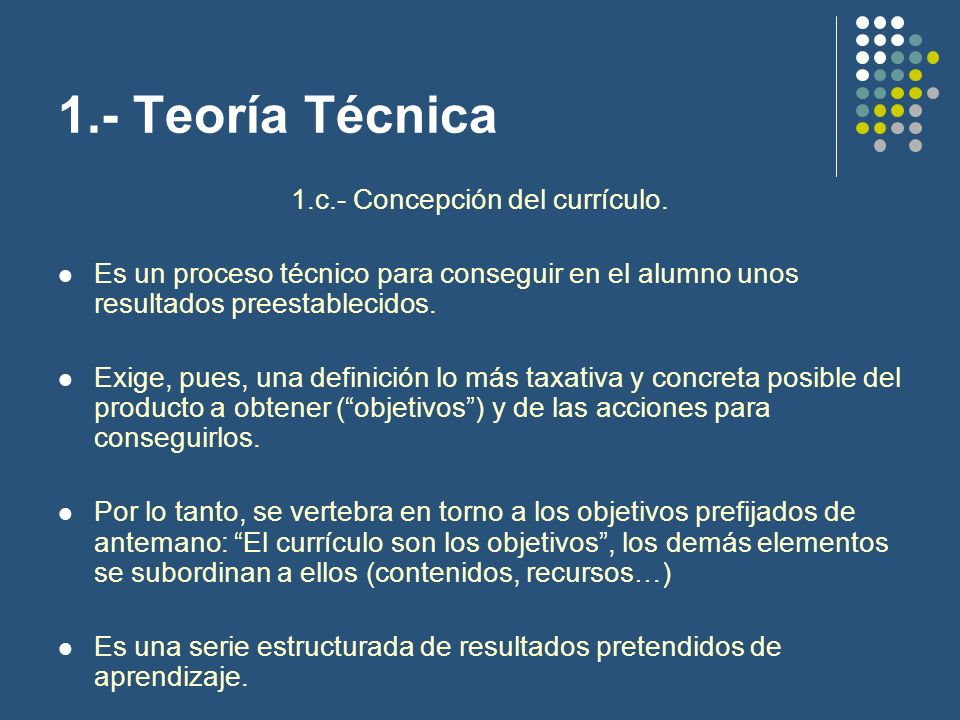 1.c.- Concepción del currículo.