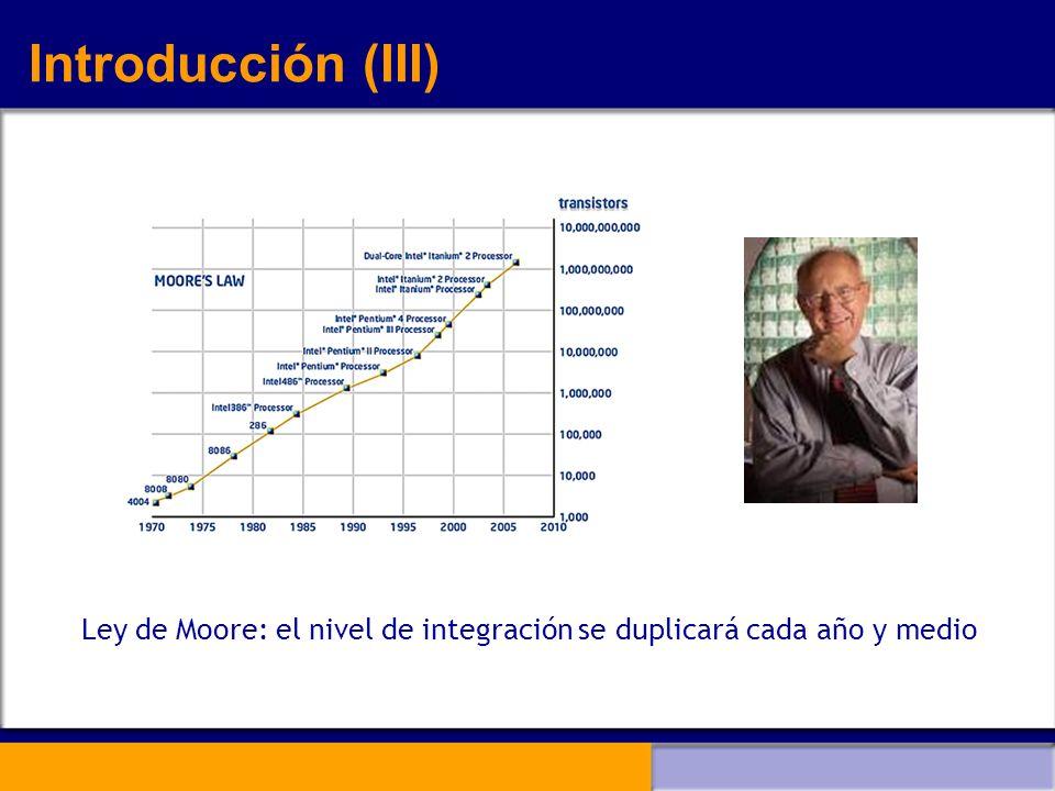 Introducción (III) Ley de Moore: el nivel de integración se duplicará cada año y medio