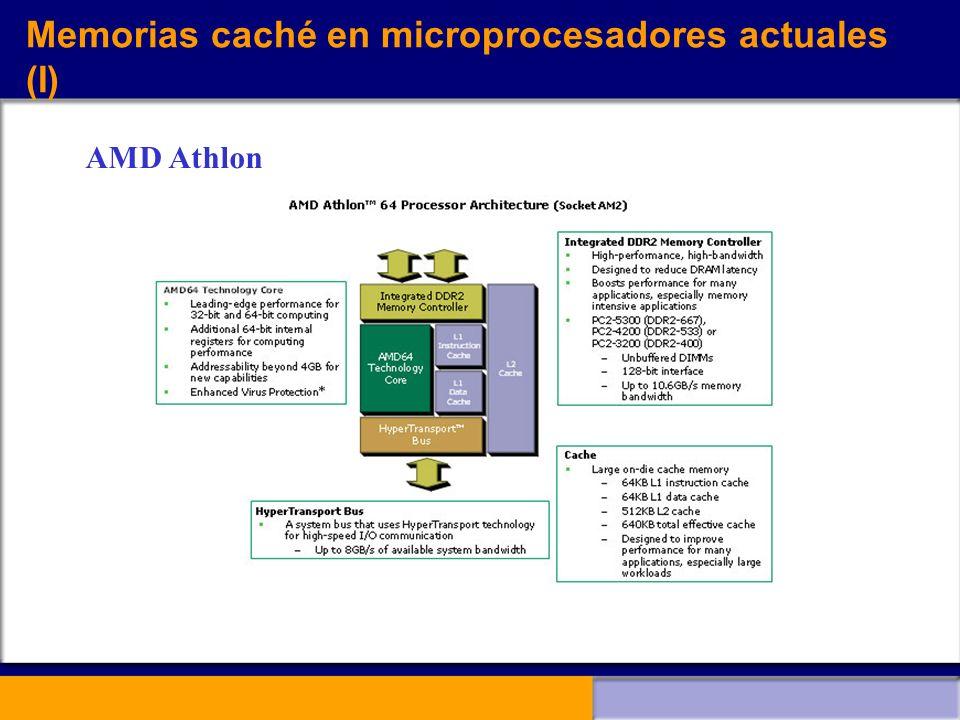 Memorias caché en microprocesadores actuales (I)