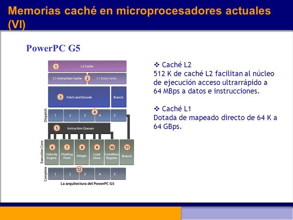 Memorias caché en microprocesadores actuales (VI)