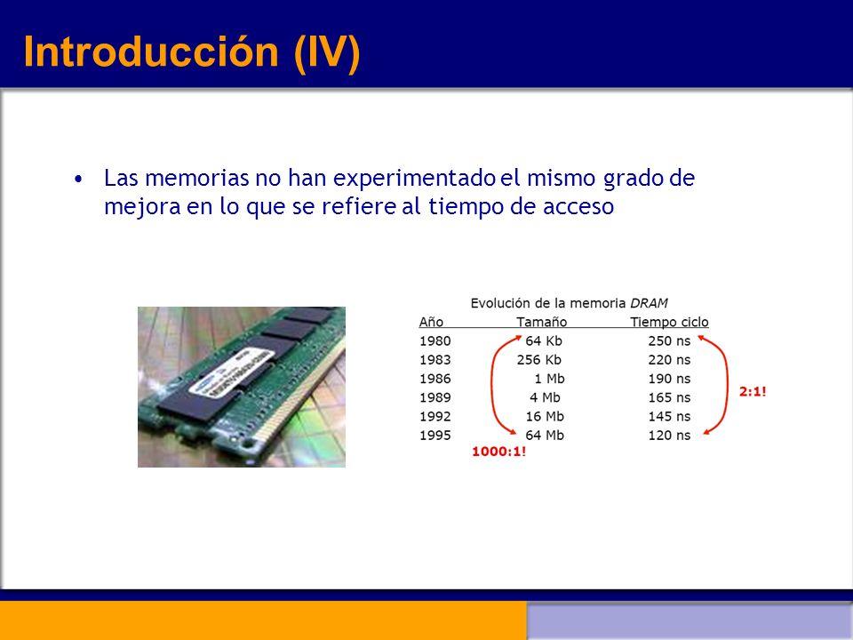 Introducción (IV) Las memorias no han experimentado el mismo grado de mejora en lo que se refiere al tiempo de acceso.