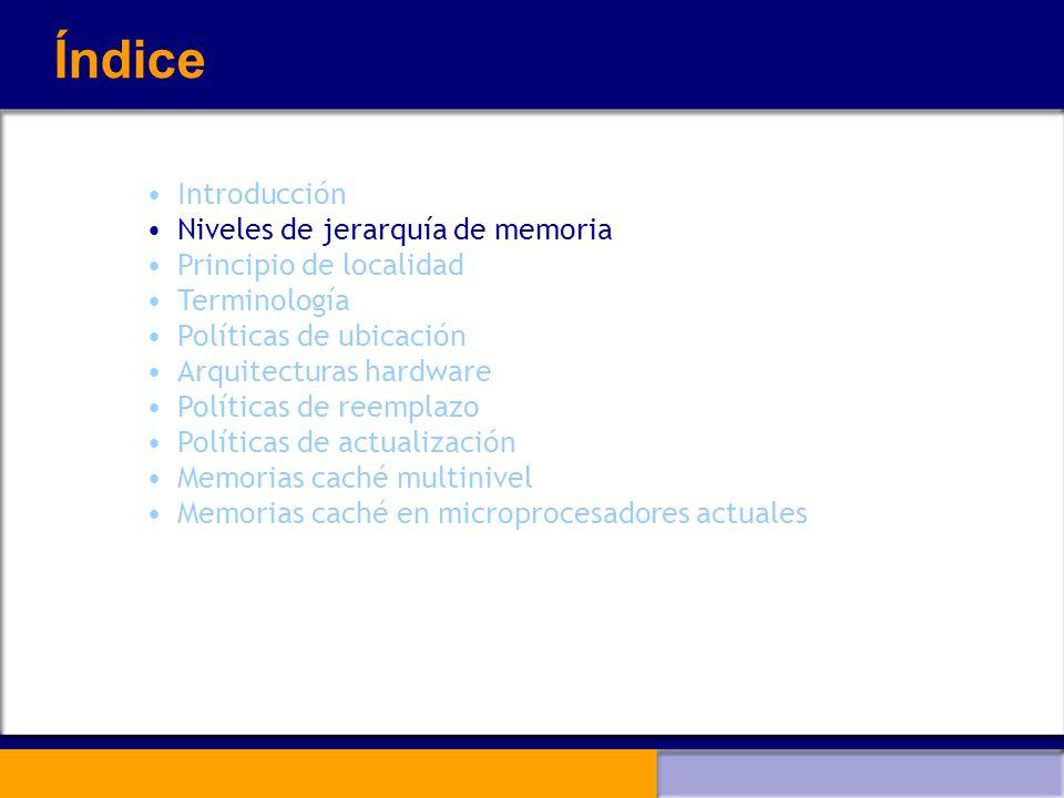 Índice Introducción Niveles de jerarquía de memoria