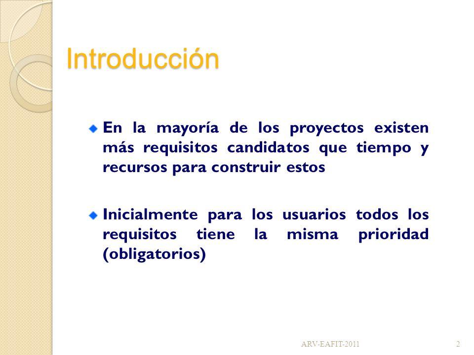 Introducción En la mayoría de los proyectos existen más requisitos candidatos que tiempo y recursos para construir estos.