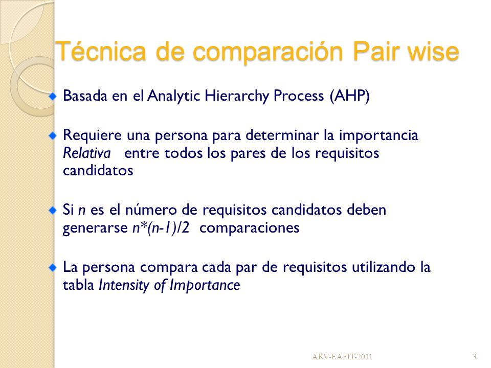 Técnica de comparación Pair wise