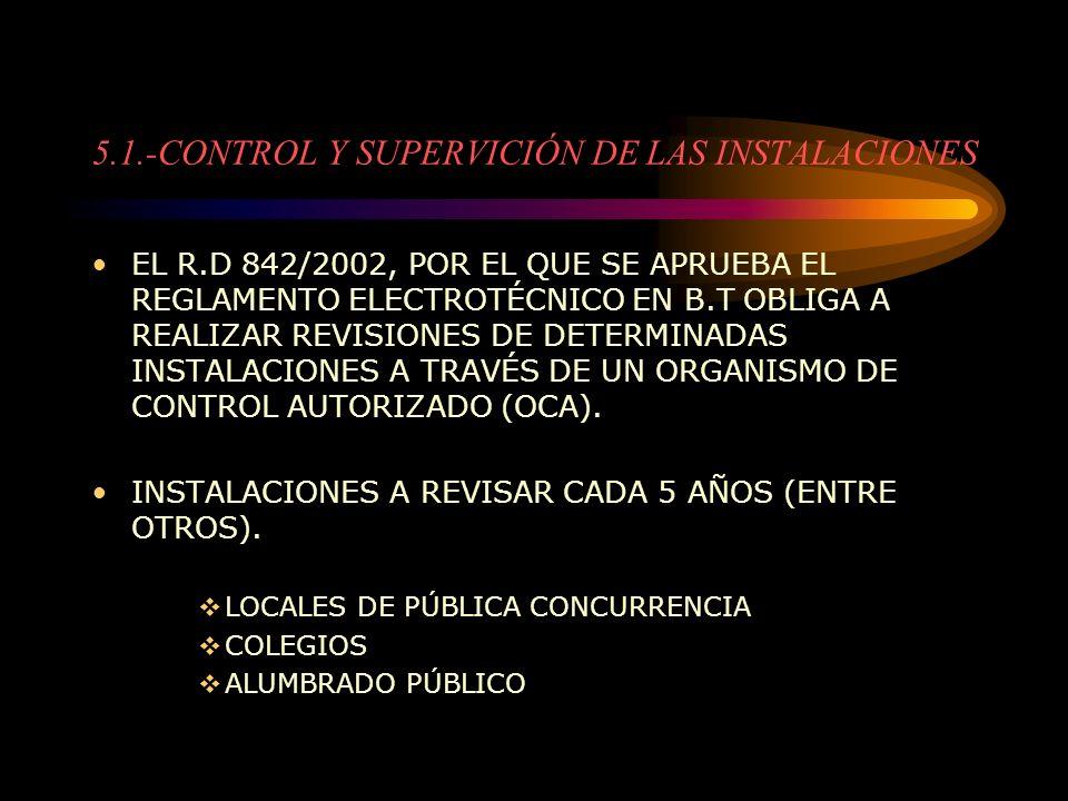 5.1.-CONTROL Y SUPERVICIÓN DE LAS INSTALACIONES