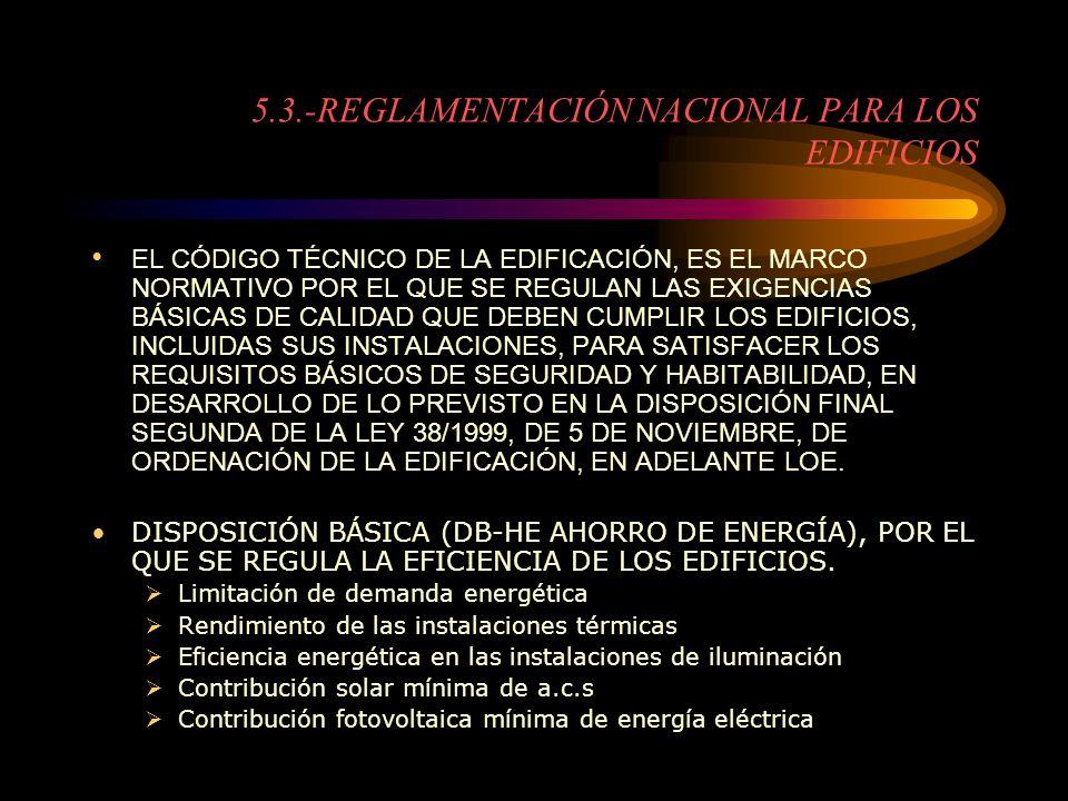 5.3.-REGLAMENTACIÓN NACIONAL PARA LOS EDIFICIOS