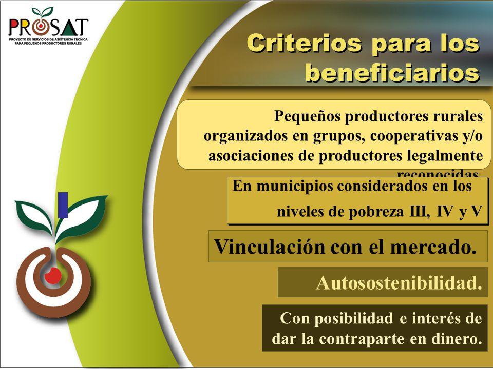 Criterios para los beneficiarios