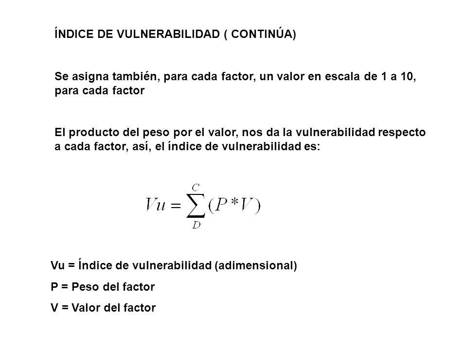 ÍNDICE DE VULNERABILIDAD ( CONTINÚA)
