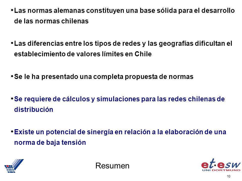 Las normas alemanas constituyen una base sólida para el desarrollo de las normas chilenas