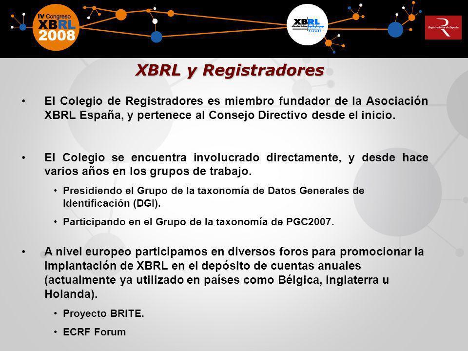 XBRL y Registradores El Colegio de Registradores es miembro fundador de la Asociación XBRL España, y pertenece al Consejo Directivo desde el inicio.