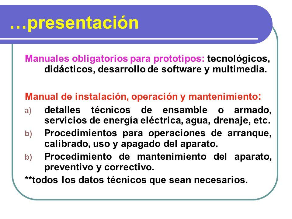 …presentación Manuales obligatorios para prototipos: tecnológicos, didácticos, desarrollo de software y multimedia.