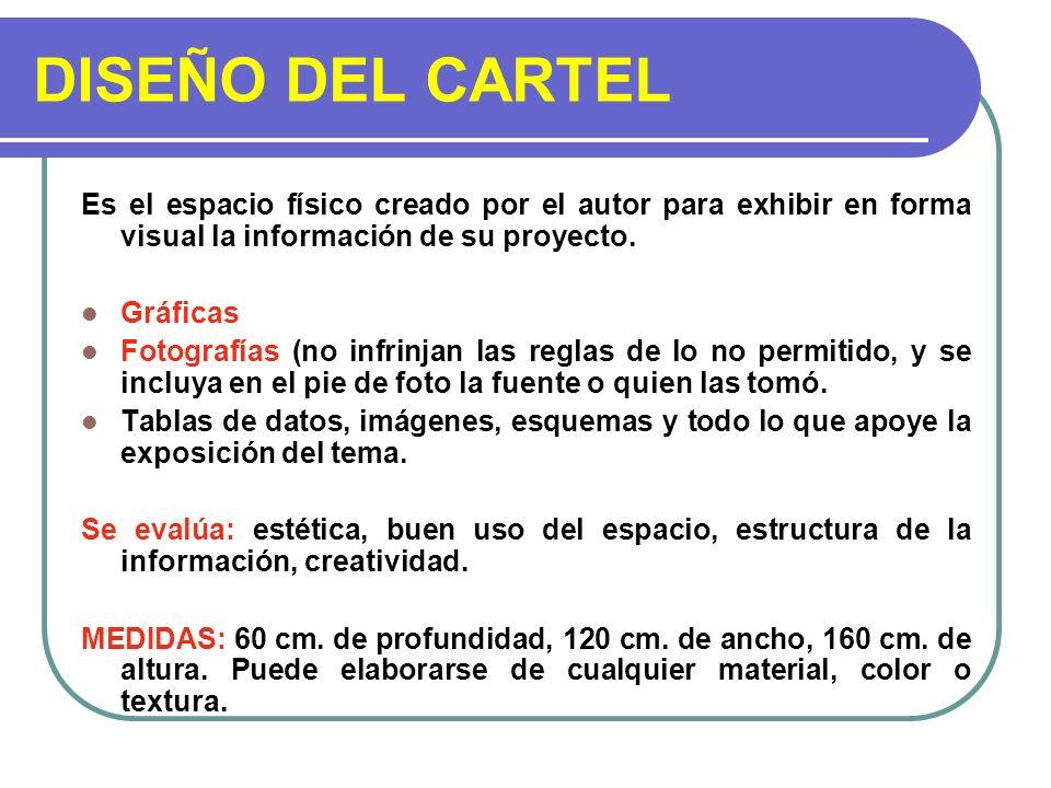 DISEÑO DEL CARTEL Es el espacio físico creado por el autor para exhibir en forma visual la información de su proyecto.