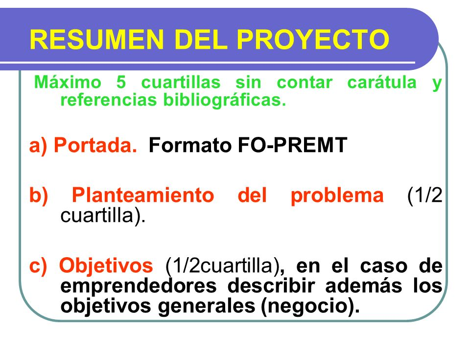 RESUMEN DEL PROYECTO a) Portada. Formato FO-PREMT
