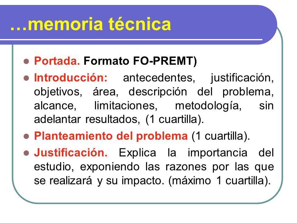 …memoria técnica Portada. Formato FO-PREMT)