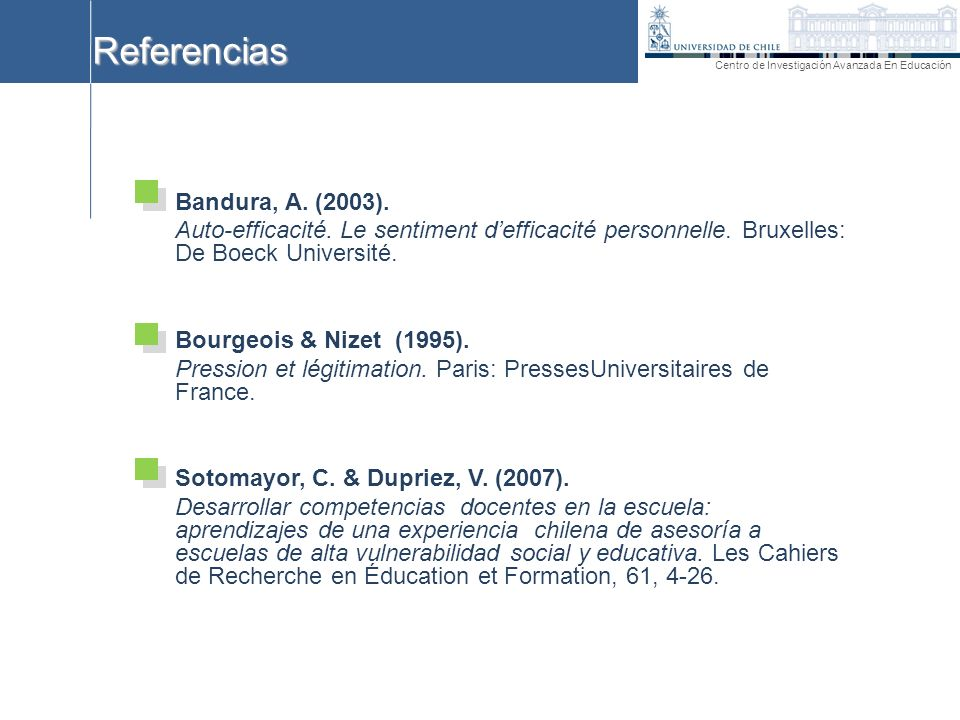 Referencias Bandura, A. (2003).