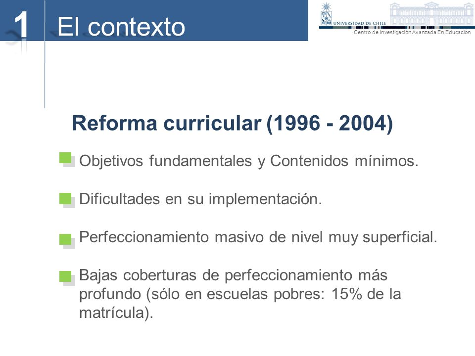 1 El contexto Reforma curricular (1996 - 2004)