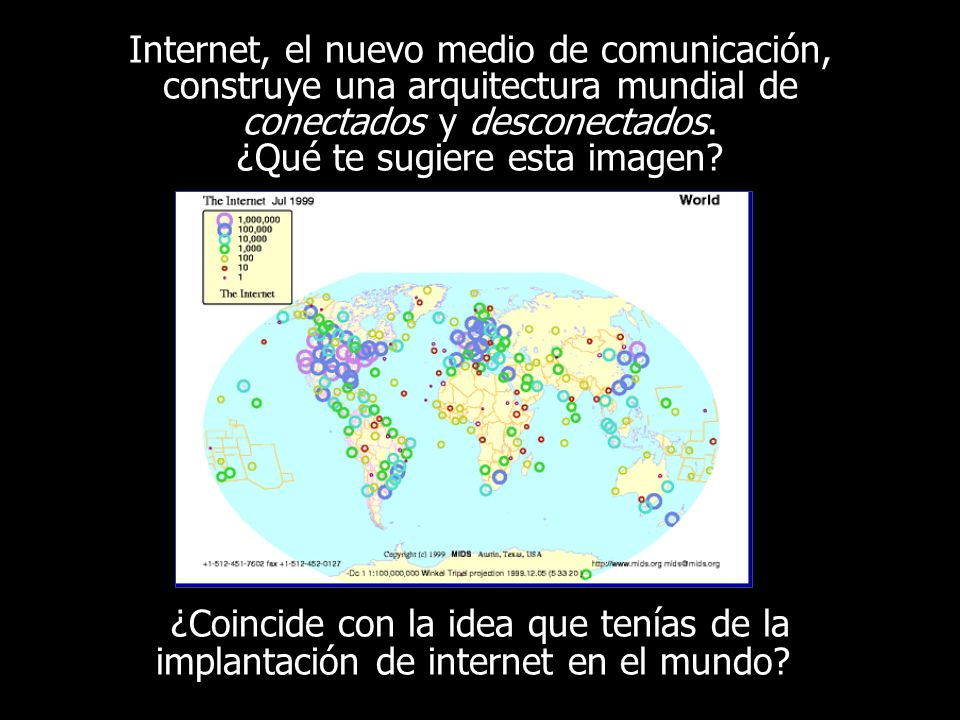 Internet, el nuevo medio de comunicación, construye una arquitectura mundial de conectados y desconectados.