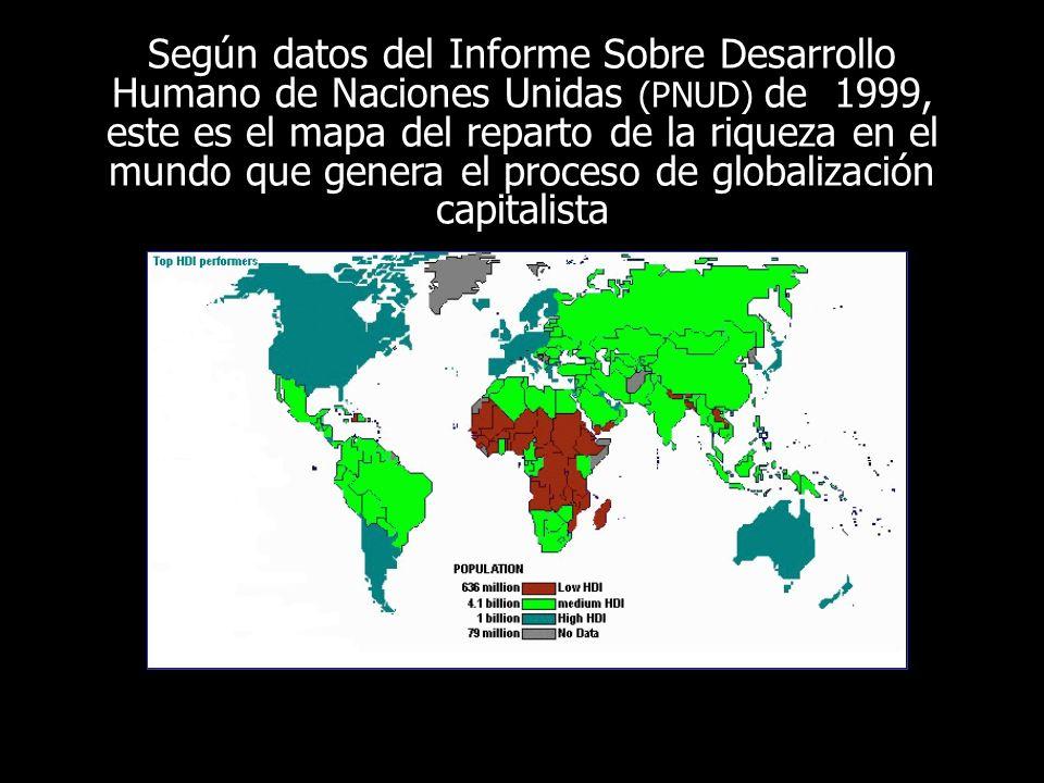 Según datos del Informe Sobre Desarrollo Humano de Naciones Unidas (PNUD) de 1999, este es el mapa del reparto de la riqueza en el mundo que genera el proceso de globalización capitalista