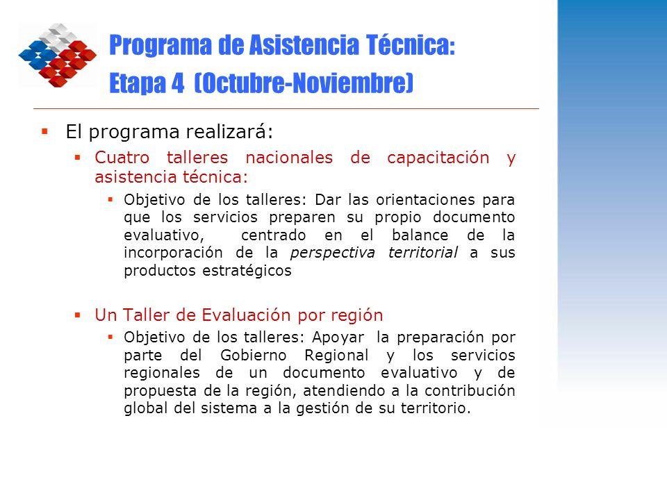 Programa de Asistencia Técnica: Etapa 4 (Octubre-Noviembre)