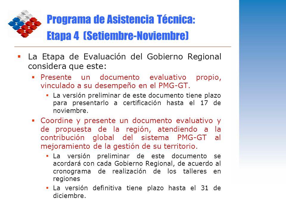 Programa de Asistencia Técnica: Etapa 4 (Setiembre-Noviembre)
