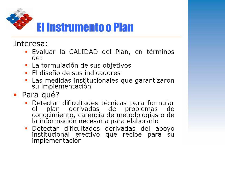 El Instrumento o Plan Interesa: Para qué