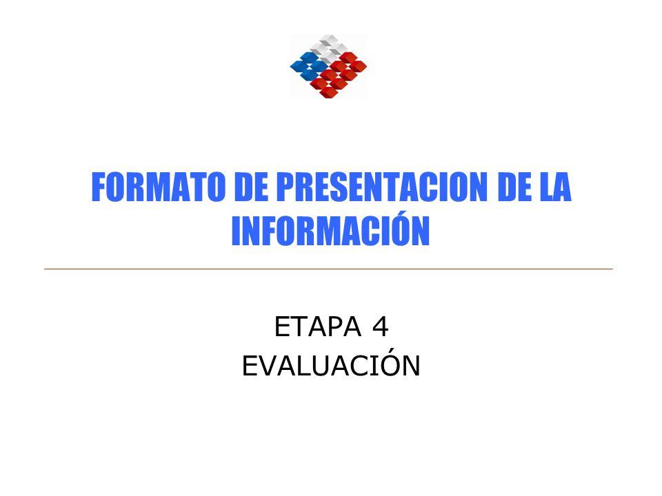 FORMATO DE PRESENTACION DE LA INFORMACIÓN