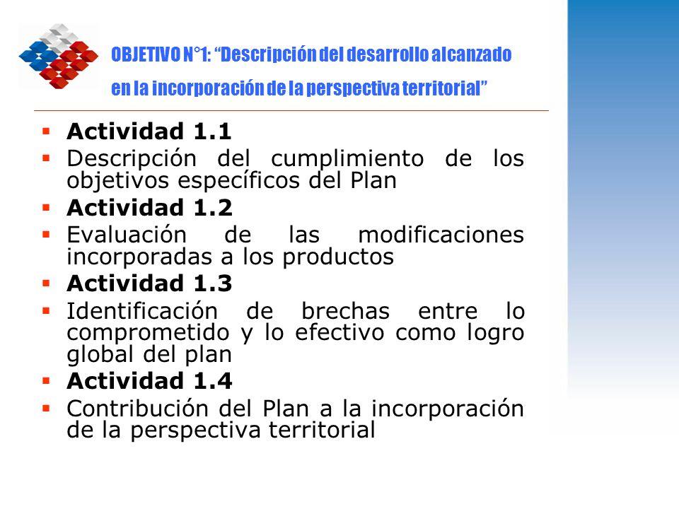 Descripción del cumplimiento de los objetivos específicos del Plan