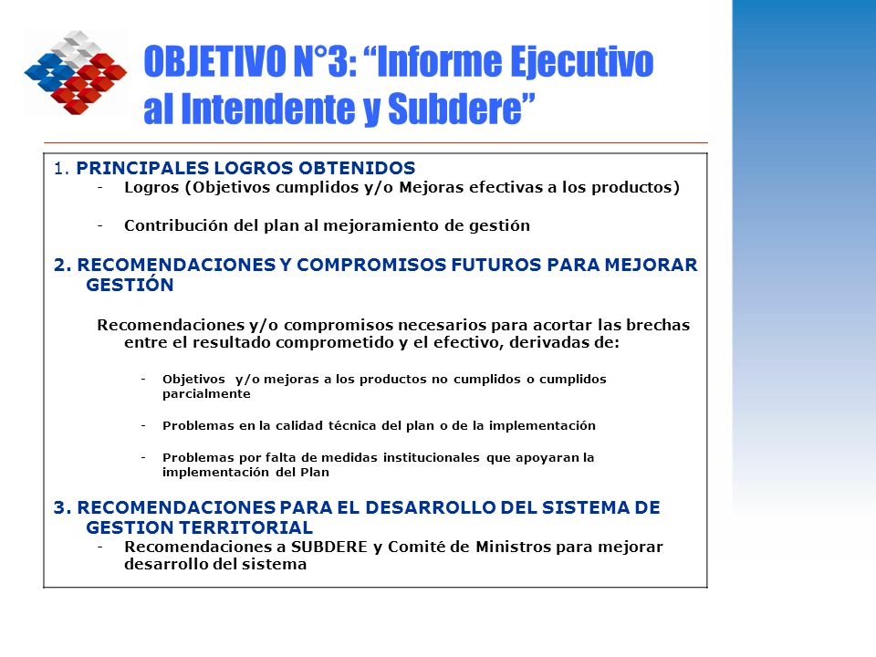 OBJETIVO N°3: Informe Ejecutivo al Intendente y Subdere