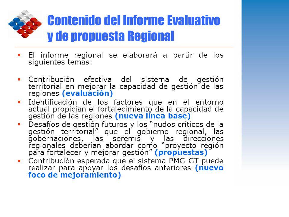 Contenido del Informe Evaluativo y de propuesta Regional