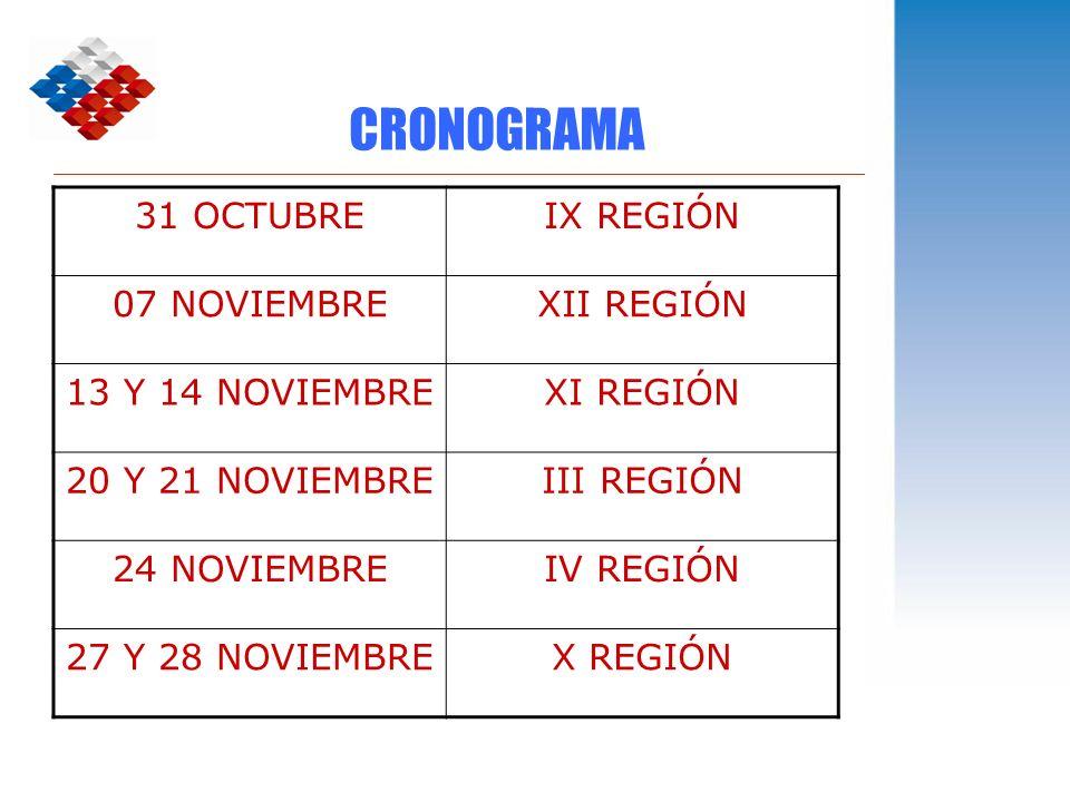 CRONOGRAMA 31 OCTUBRE IX REGIÓN 07 NOVIEMBRE XII REGIÓN