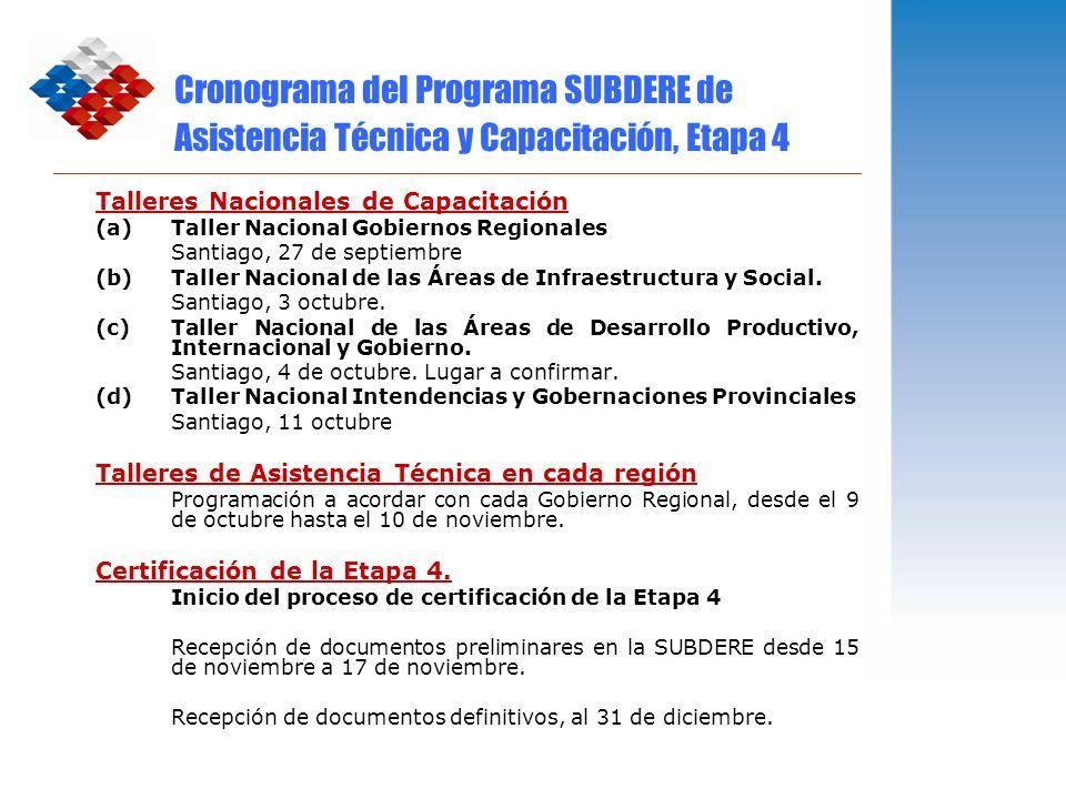 Cronograma del Programa SUBDERE de Asistencia Técnica y Capacitación, Etapa 4