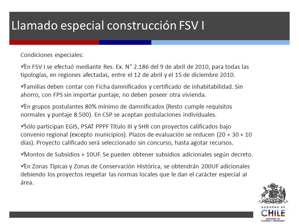 Llamado especial construcción FSV I