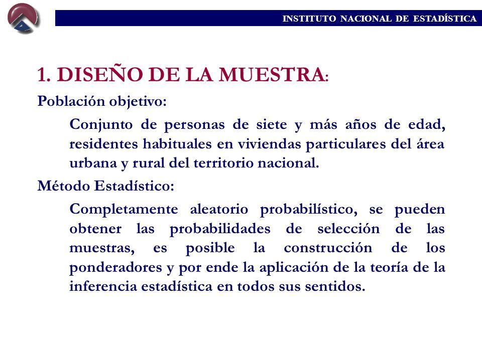 1. DISEÑO DE LA MUESTRA: Población objetivo: