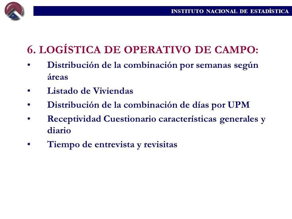 6. LOGÍSTICA DE OPERATIVO DE CAMPO: