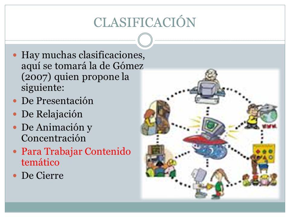 CLASIFICACIÓN Hay muchas clasificaciones, aquí se tomará la de Gómez (2007) quien propone la siguiente: