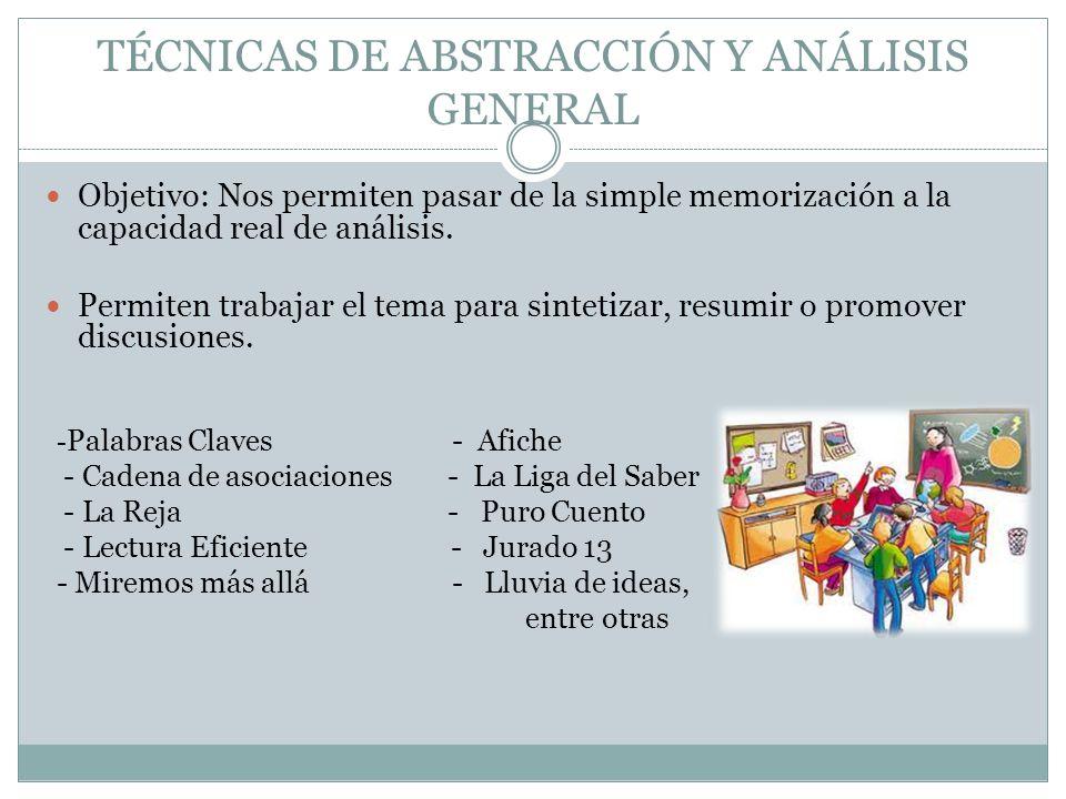 TÉCNICAS DE ABSTRACCIÓN Y ANÁLISIS GENERAL