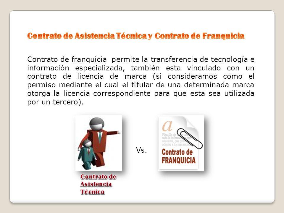 Contrato de Asistencia Técnica y Contrato de Franquicia