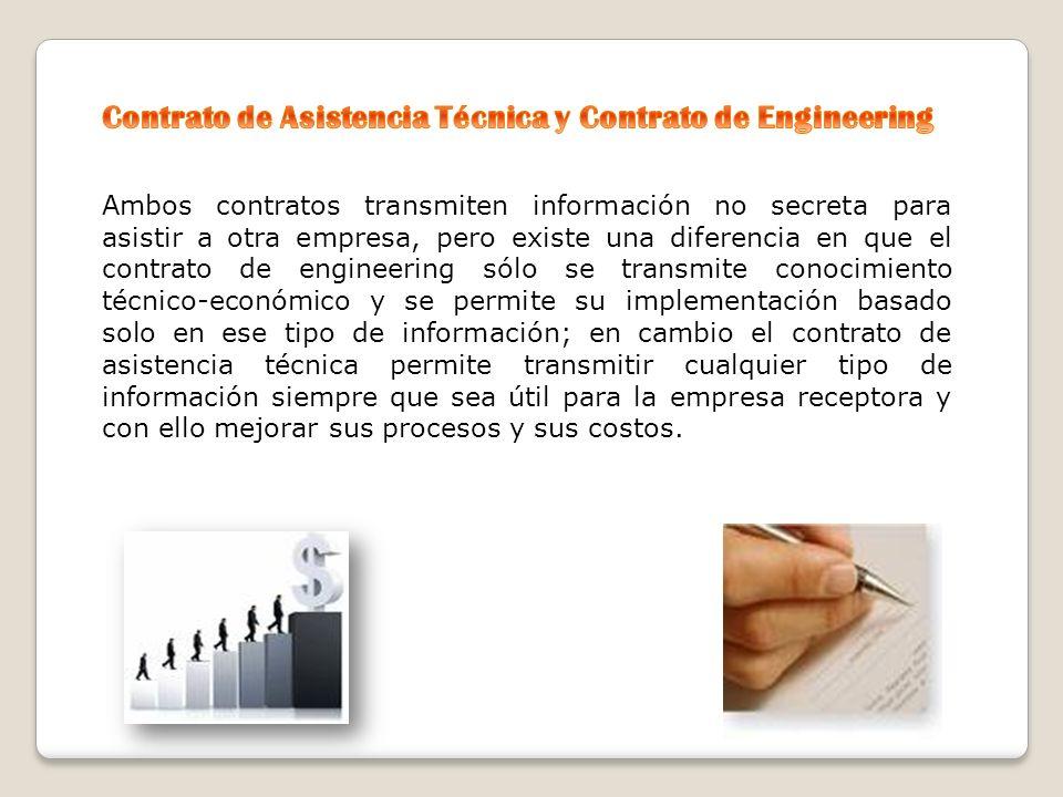 Contrato de Asistencia Técnica y Contrato de Engineering