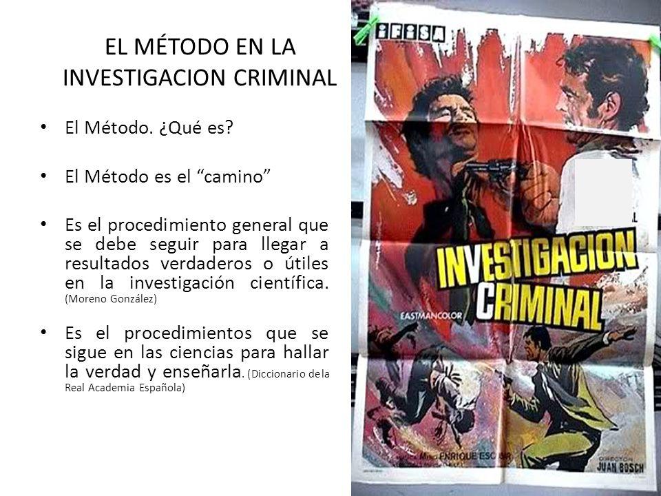 EL MÉTODO EN LA INVESTIGACION CRIMINAL