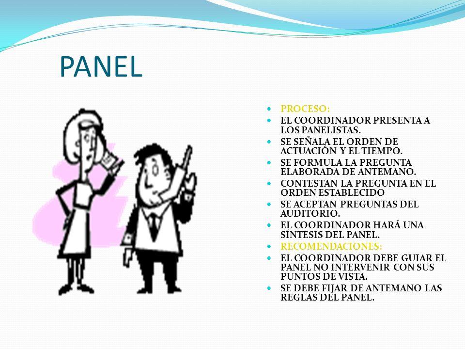 PANEL PROCESO: EL COORDINADOR PRESENTA A LOS PANELISTAS.