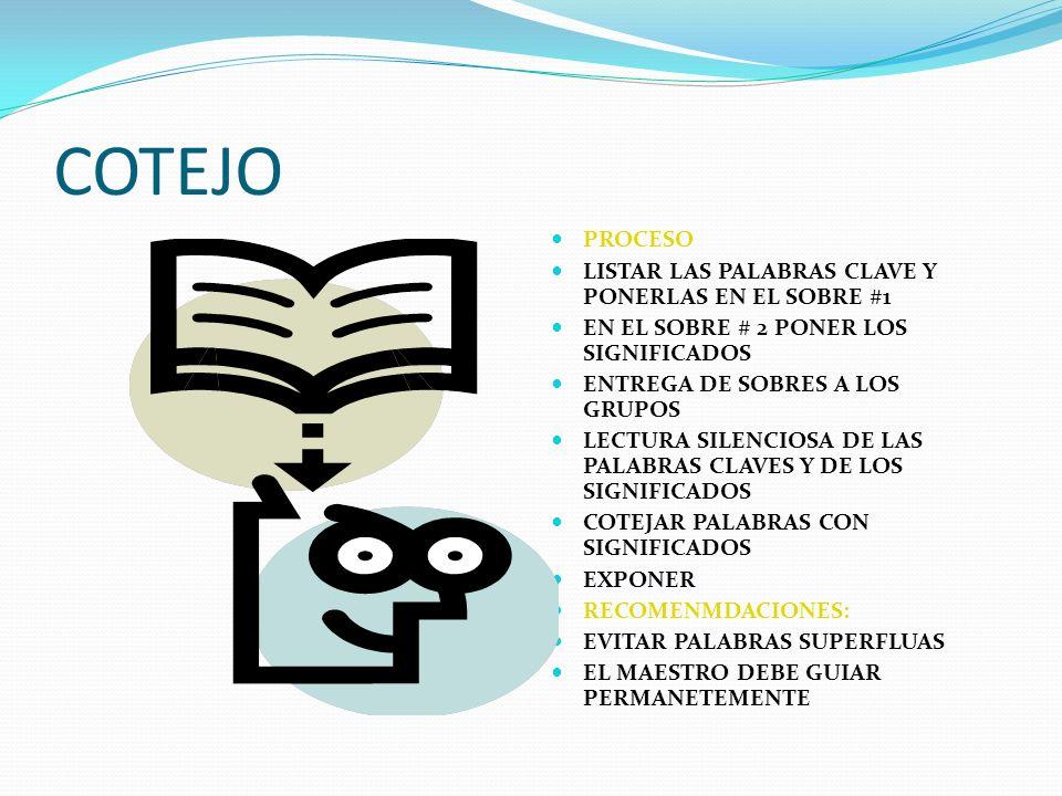 COTEJO PROCESO LISTAR LAS PALABRAS CLAVE Y PONERLAS EN EL SOBRE #1