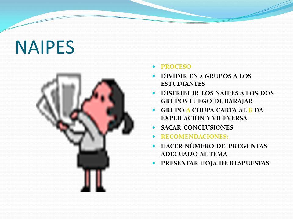 NAIPES PROCESO DIVIDIR EN 2 GRUPOS A LOS ESTUDIANTES