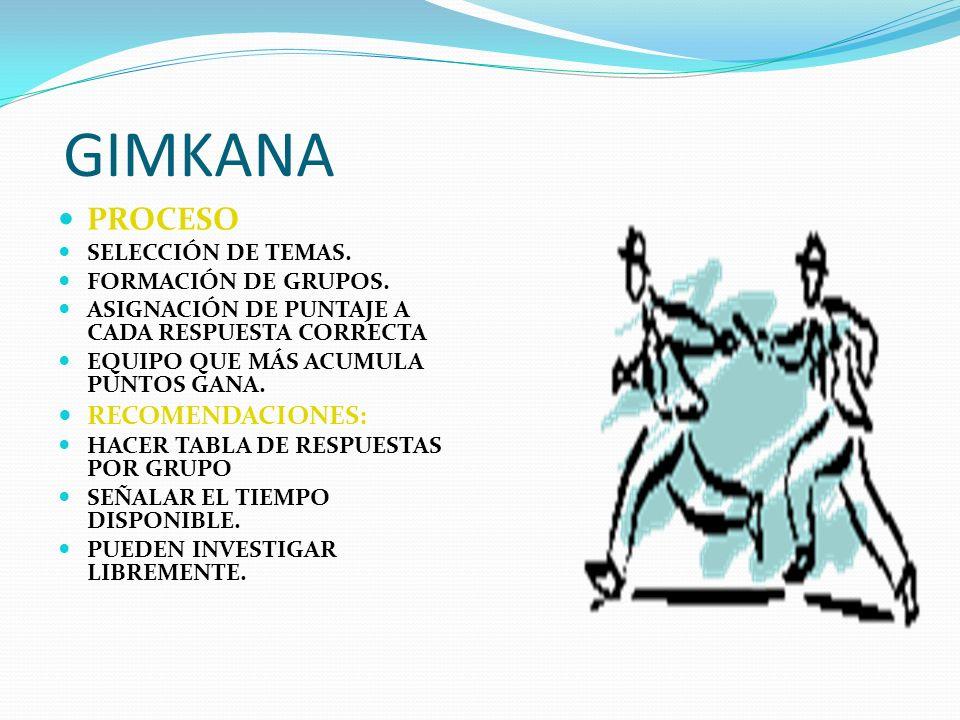 GIMKANA PROCESO RECOMENDACIONES: SELECCIÓN DE TEMAS.