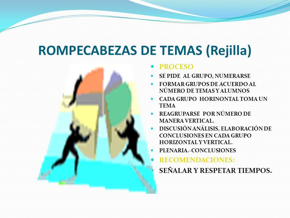 ROMPECABEZAS DE TEMAS (Rejilla)