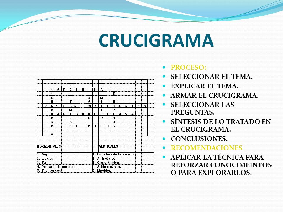 CRUCIGRAMA PROCESO: SELECCIONAR EL TEMA. EXPLICAR EL TEMA.